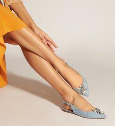 Sapatilha Slingback Jeans com Aplicações de Bijoux
