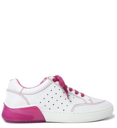 Tênis Branco Couro Athleisure Rosa