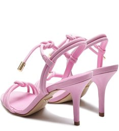 Sandália Camila Nobuck Nó Salto Médio Amarração Baby Pink