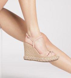 Sandália Plataforma Nobuck Salto Alto Trançado Nude Gergelim