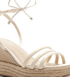 Sandália Branca Snake Plataforma Palha