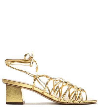 Sandália Dourada Mica Salto Baixo Bloco