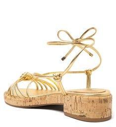 [PRÉ VENDA] Sandália Dourada Couro Flatform Amarração