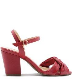 Sandália Couro  Salto Médio Nó Cherry Red