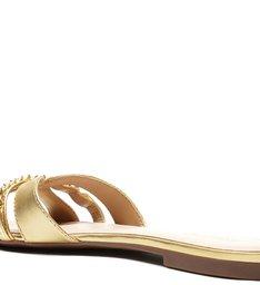 Rasteira Dourada Couro Flat Corrente