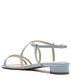 Sandália Azul Couro Salto Baixo Bloco