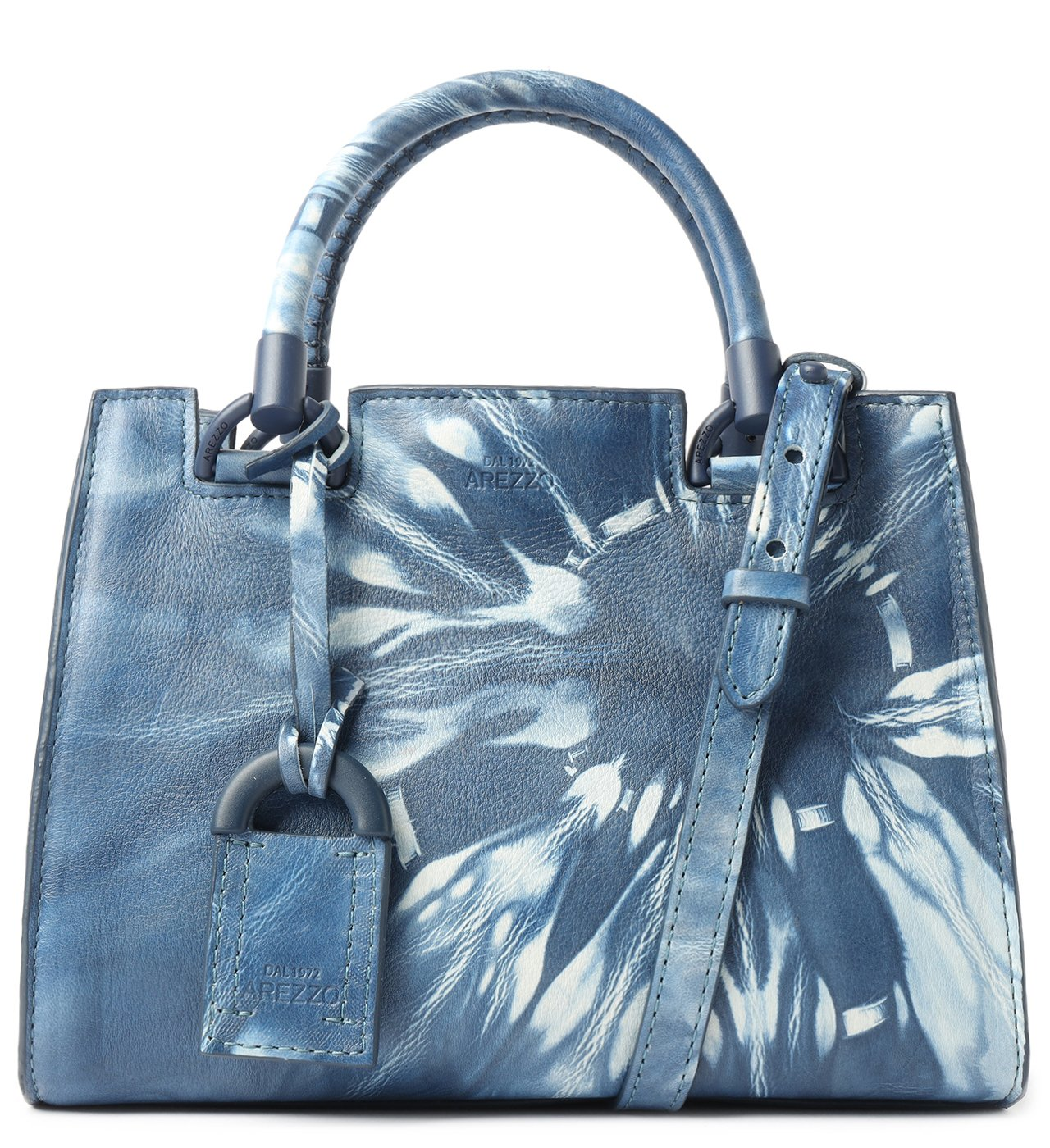 Bolsa Tote Azul Couro Tie-Dye Clara Média | Arezzo