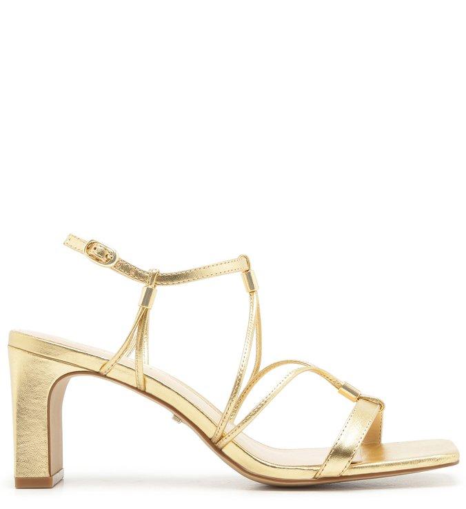 Sandália Couro Bico Quadrado Dourada