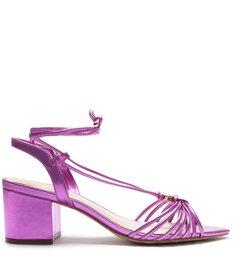 Sandália Salto Bloco e Bico Folha Amarração Metal Pink