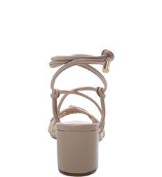 Sandália Couro Tiras Amarração Nozinho Latte