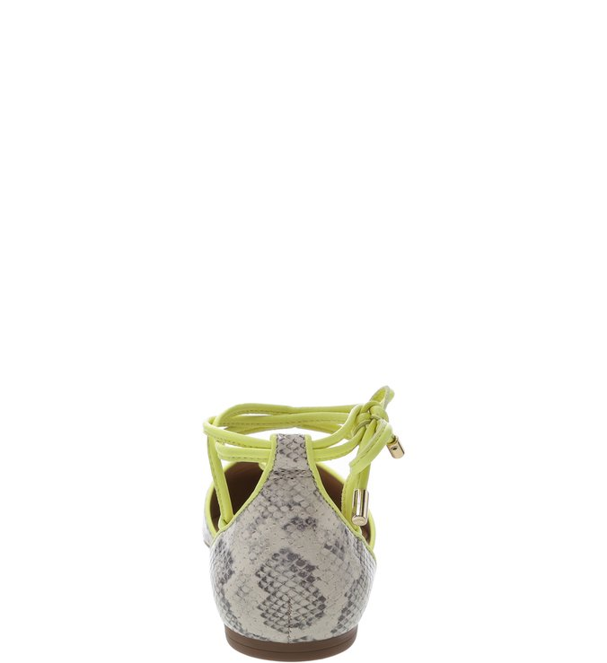 Sapatilha Snake Mármore Tiras Porcelana e Neon Limão