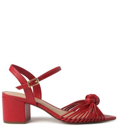Sandália Vermelha Salto Bloco Tiras