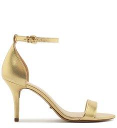 Sandália Isabelli Couro Metalizado Salto Médio New Golden