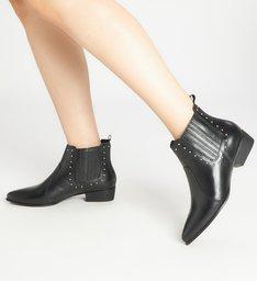 Ankle Boot Couro Salto Bloco Baixo Preta