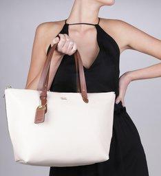 Bolsa Shopping Agnes Grande Off-White e Tawny