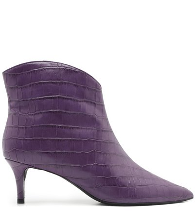 Bota Cano Curto Roxa Croco Salto Fino Real Purple