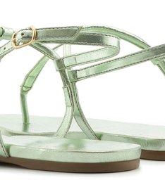 Sandália Rasteira Metalizada Tiras Verde