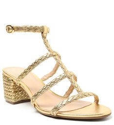 Sandália Dourada Salto Bloco Trançados New Golden