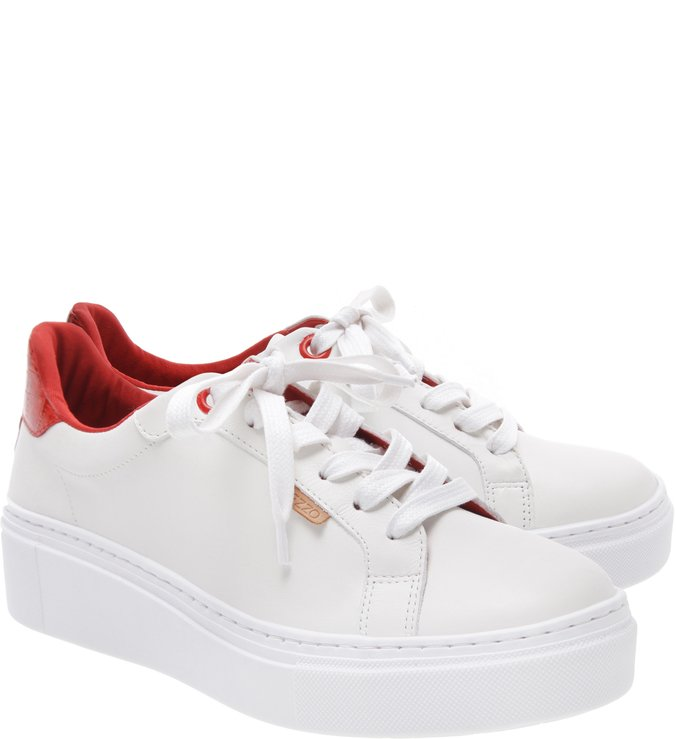 Tênis Nappa Bianco e Royal Red