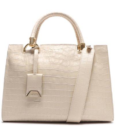 Bolsa Tote Grande Couro Off-White Croco Abbracio