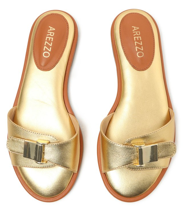 Rasteira Dourado Clogs Fivela Dourada New Golden