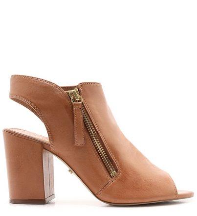 Sandal Boot Marrom Couro Zíper Salto Bloco