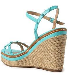 Sandália Azul Couro Plataforma
