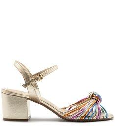 Sandália Metal Salto Bloco Nó Platino e Colorida