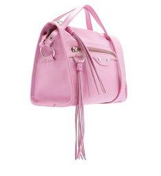 Bolsa Bowling Couro Adriana Média Baby Pink