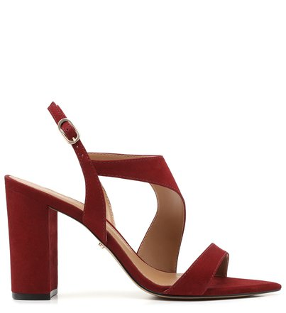 Sandália Vermelha Nobuck Salto Bloco Fivela Flâmula