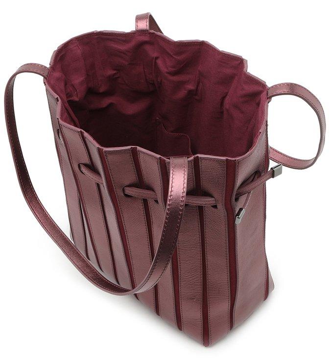Bolsa Bucket Roxa Couro Pariolli Grande Raspberry Metal