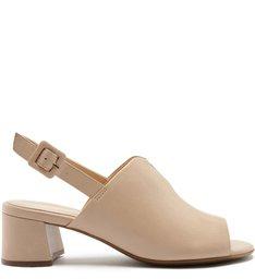 Sandal Boot Couro  Salto Baixo Classic Nude