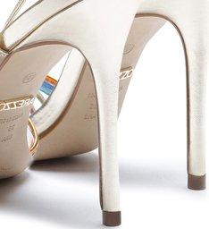Sandália Metal Amarração Salto Fino Platino e Colorida