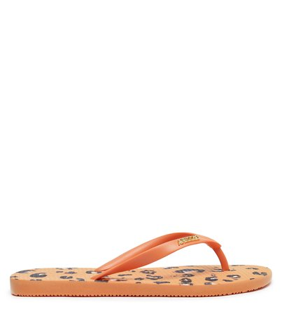 Chinelo de Dedo Animal Print Laranja Brizza