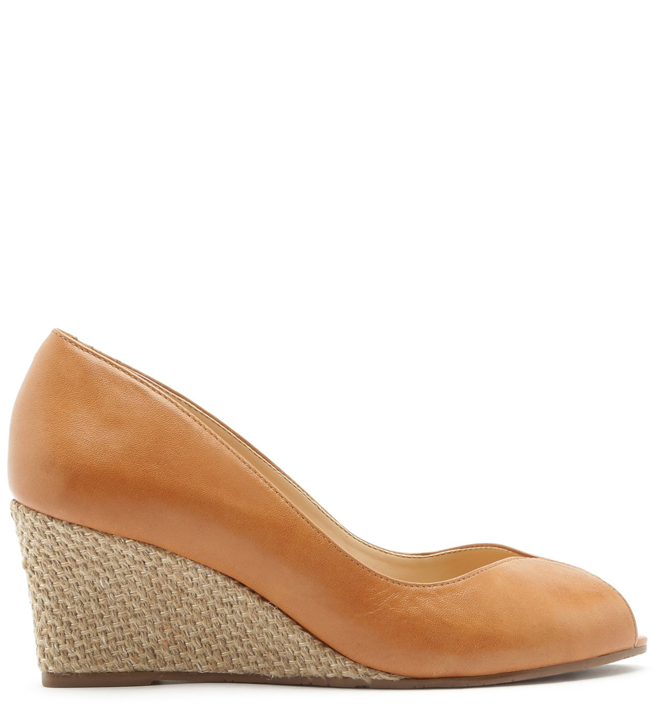 Scarpin Couro Peep Toe Anabela Natural Wood | Arezzo