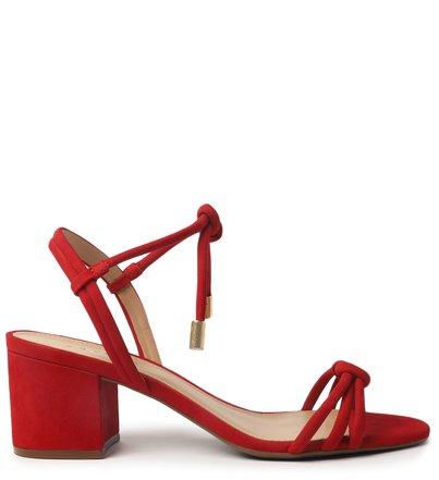Sandália Vermelha Nobuck Bloco Escarlate
