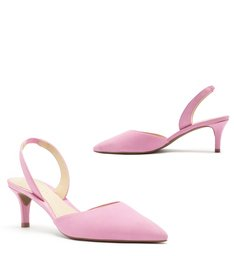 Scarpin Nobuck Bico Fino Slingback Baby Pink