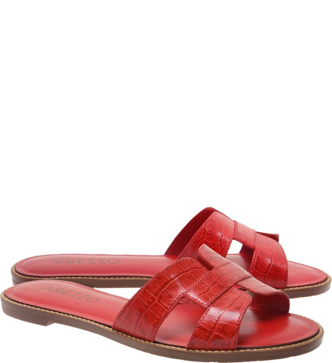 Chinelo Couro Croco H Royal Red