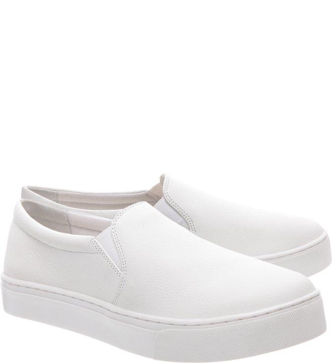 Tênis Slip On Basic Couro Branco