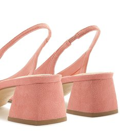 Scarpin Suede Arezzo Touch Slingback Flower Pink