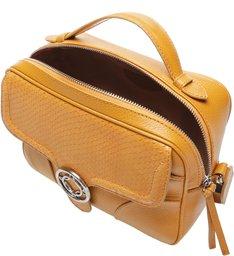 Bolsa Tiracolo Pequena Couro Carol Amber Yellow