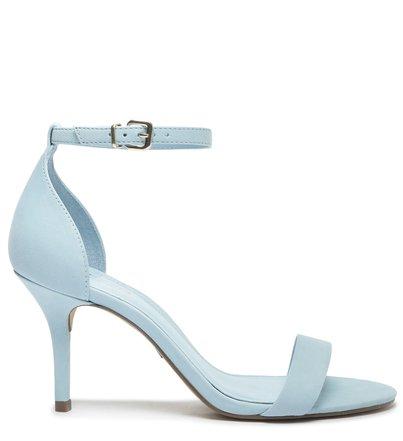 Sandália Azul Nobuck Salto Fino Médio Isabelli