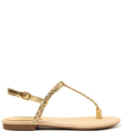 Rasteira Dourada Fivela New Golden