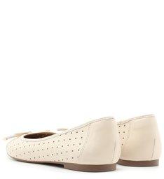 Sapatilha Branca Furadinha Bico Redondo Off-White