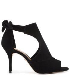 Sandal Boot Preta Nobuck Salto Fino Amarração