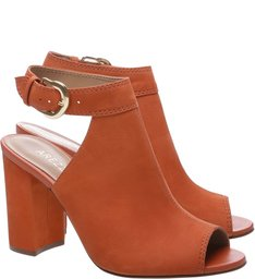 Sandal Boot West Side Nobuck Salto Alto Bloco West Orange