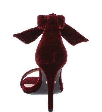 Sandália Clássica Veludo Lace-up Bordo