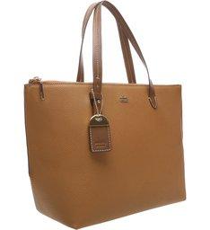 Bolsa Shopping Agnes Grande Natural Tan e Imbuia