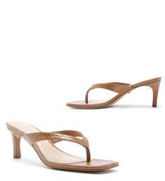 Sandália Salto Baixo Croco Bico Quadrado Gergelim