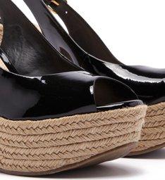 Sandália Plataforma Verniz Peep Toe Trança Preta